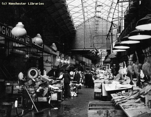 01Markets, Smithfield Market, Manchester, Start of retail fish market from Oak Street, Creator Kay, W, 1966 copy